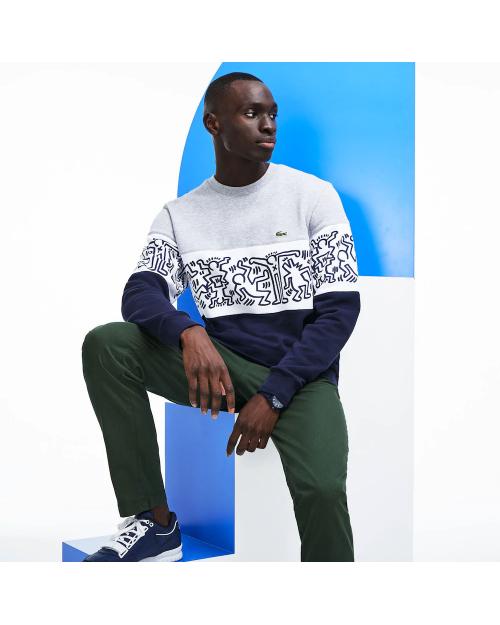 Lacoste Print Crew Neck Colourblock Fleece Sweatshirt x Keith Haring SH4370-00 J1T