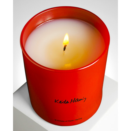"""LIGNE BLANCHE Keith HARING """"Red Running Heart"""" perfumed candle PCKH24"""