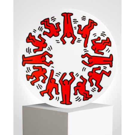 """LIGNE BLANCHE Keith HARING """"Red on White"""" porcelain plate CAKH14"""