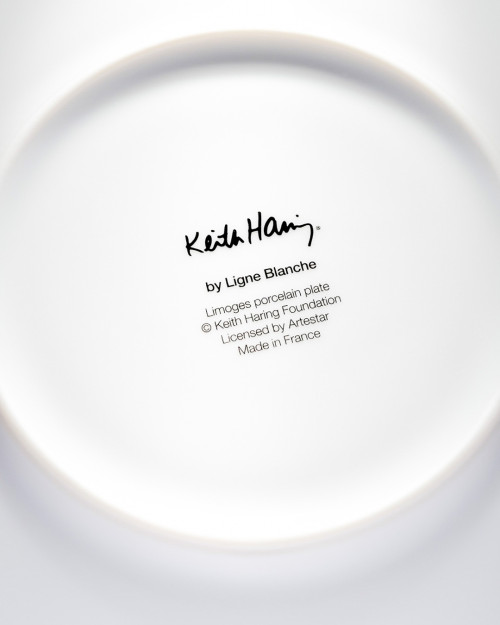"""LIGNE BLANCHE Keith HARING """"White on Red"""" porcelain plate CAKH15"""